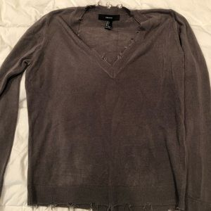 Forever 21 Gray Distressed Sweater